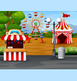 amusement park with ferris wheel ticket booth and vector image vector image