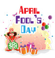 april fools day a jester gift box balloon backgrou vector image