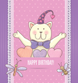 Birthday card with cat vector image vector image