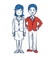 business man and woman standing partners cartoon vector image