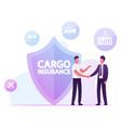 cargo insurance concept businessmen shaking hands vector image