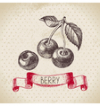 Cherry Hand drawn sketch berry vintage background vector image vector image