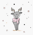 childish deer cute cartoon sketch vector image