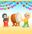 children are plating music tools vector image vector image
