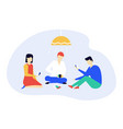 children playing a card game - flat design style vector image