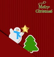 Christmas background Snowman and Christmas tree on vector image