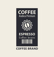 coffee labels with cups barcodes and coffee beans vector image