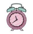 color pencil graphic pink alarm clock vector image vector image