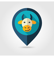 Cow flat pin map icon Animal head vector image vector image