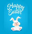 easter bunny with happy text vector image vector image