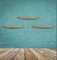 Empty wood shelf on blue brick wall vector image vector image