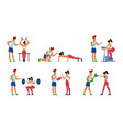 fitness trainer gymnastics exercising in gym with vector image