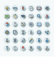 flat color thin line icons set with science vector image vector image