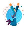 flat happy businessman dancing joy jumping vector image