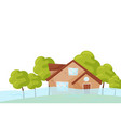 flat scene with flooded house and green vector image