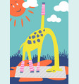 funny giraffe doing outdoor yoga in a park kid vector image
