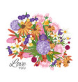 garden flowers bouquet with love you text vector image vector image