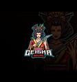 geisha mascot esport logo design vector image vector image