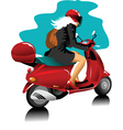 girl on scooter vector image vector image