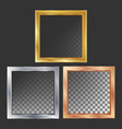 gold silver bronze copper metal frames vector image