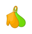 Green and orange kitchen gloves icon vector image