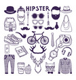 hand drawn style doodle set of hipster elements vector image vector image