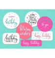 Happy Birthday lettering sign quote typography set vector image