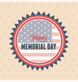 happy memorial day badge on flag patriotic vector image vector image