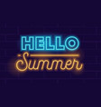 hello summer realistic neon glowing lettering vector image vector image