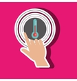 human hand selecting thermometer isolated icon vector image