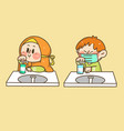 kids boy and girl washing hands doodle vector image vector image