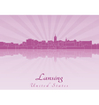 Lansing skyline in radiant orchid vector image vector image