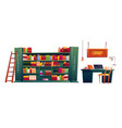 library with books on shelves and laptop on table vector image vector image