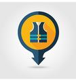 Life jacket pin map flat icon Summer Vacation vector image vector image