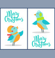 marry christmas birds set vector image vector image