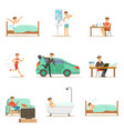 modern man daily routine from morning to evening vector image