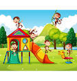 Monkeys playing in the playground vector image vector image