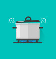 pan with steam on gas stove fire cooking some vector image vector image