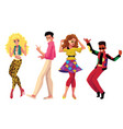 people in 1980s style clothes dancing at retro vector image vector image