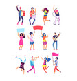 people in parade peaceful participants vector image