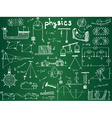 Physical formulas and phenomenons on school board vector image vector image