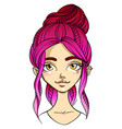 pink-haired girl face smiling facial expression vector image
