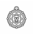 Piratical medallion with skull icon outline style vector image
