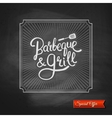 Poster of Barbecue and Grill on Black Chalkboard vector image