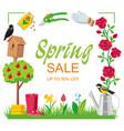 sale spring frame square garden vector image vector image