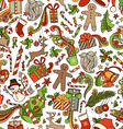 Seamless Cartoon Christmas Pattern vector image vector image