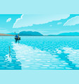 seascape with a boat vector image vector image