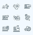 seo icons line style set with social media page vector image vector image