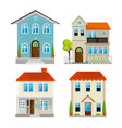 set houses buildings in flat style design vector image
