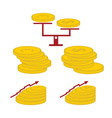 set of coins and finance elements vector image
